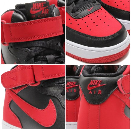 Nike Air Force 1 Mid Gets The Bred Treatment